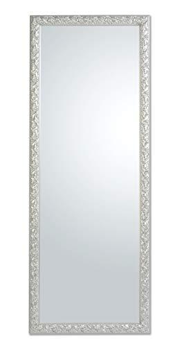 MO.WA Specchio da Parete Argento Cornice Barocca in Legno cm. 55x145 da Appendere Verticale/Orizzontale. Made in Italy.