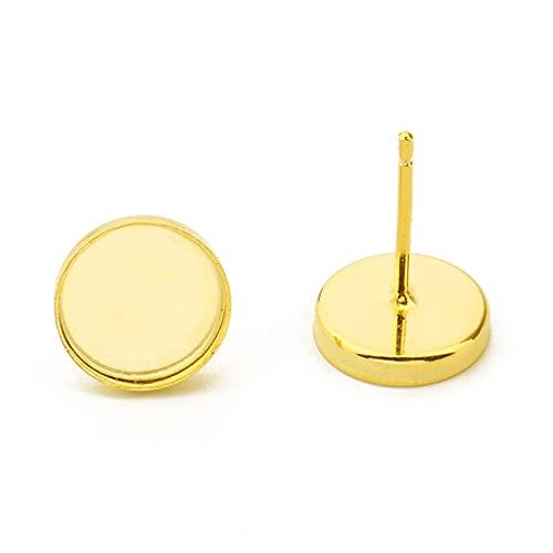 JOMOSIN SFSD809 - Juego de 4 pendientes de plata de ley 925 con base en blanco para 6 mm/8 mm, accesorios para hacer joyas (color: oro, tamaño: 8 mm)