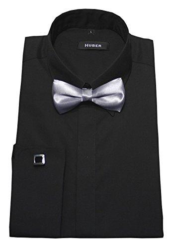 HUBER Manschettenhemd schwarz mit Fliege Silber L