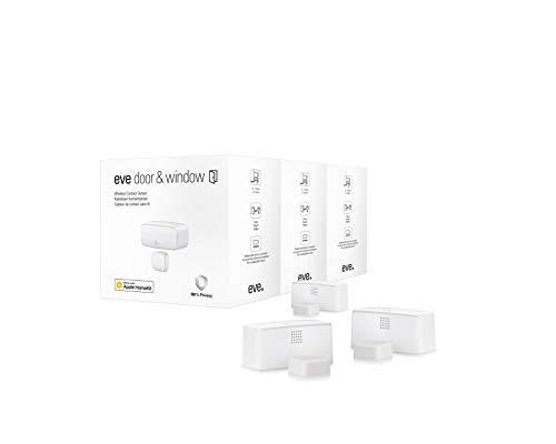 Eve Door & Window 3er-Set - Smarter Kontaktsensor für Türen und Fenster, Mitteilungen (geschlossen, offen), Keine Bridge erforderlich, BLE (Apple HomeKit)