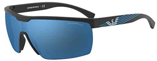 Emporio Armani 4116 Gafas, MATTE BLACK/DARKBLUEEMIRRORBLUEE, 42 Hombres