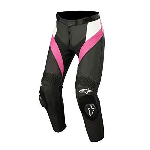 Alpinestars Stella Missile dames sport paardrijden leren broek zwart/wit/roze, 38 EUR