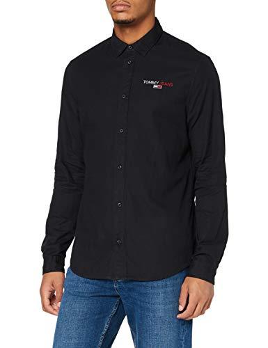 Tommy Jeans Herren TJM Textured Stripe Logo Shirt Hemd, Schwarz, M