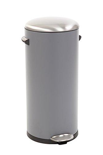 EKO Belle Deluxe Poubelle à Pédale Métal Gris 38 x 33,8 x 66 cm 30 litres