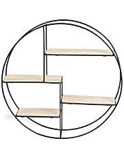 LIFA LIVING Industrieel Wandrek, Zwarte Wandplank, Metaal/Hout en Metalen Kruidenrek, Moderne Wanddecoratie, Ronde Muurrek voor Woonkamer, Slaapkamer, Keuken, 55 x 11 x 55 cm