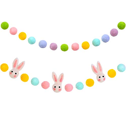 2 Pieces Easter Felt Garland Wool Felt Rabbit Pom Pom Garland Bunny Ball Colorful Pom Pom Garland for Easter Party Decoration Supply