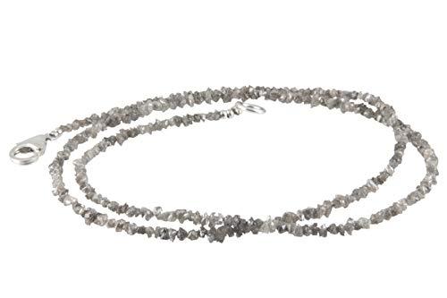 Diamant Collier hochwertige Goldschmiedearbeit aus Deutschland (Sterling Silber 925) aus grauen Rohdiamanten, Natur pur, Diamanten Kette, Damen Kette mit Wert Expertise, Länge verstellbar