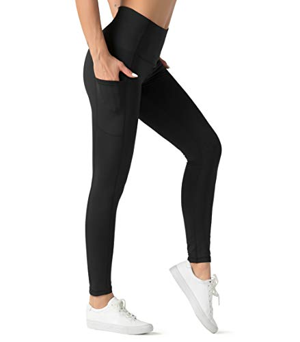 Dragon Fit High Waist Yoga Leggings for Women with 3 Pockets,Tummy Control Workout Running Pants,Athletic Compression Leggings(Large, Ankle58-Black)