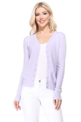 YEMAK Women's Long Sleeve V-Neck Button Down Soft Knit Cardigan Sweater MK5178-Lilac-XL