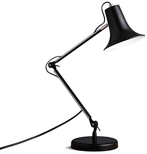 ZHANGYY Lámpara de Mesa para Escritorio, Brazo Largo Negro, Trabajo de Estudio de Metal, lámparas de luz de Mesa Frescas, Fuente de luz E27