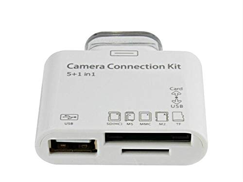 TheMax Card Reader 5 in 1 USB Camera Connection Reader Kit for Samsung Galaxy Tab 7.7, 8.9, 10.1,Iphone 3/4, iPad 1/2/3, Micro SD, TF, SD, SDHC, MMC, Duo Card