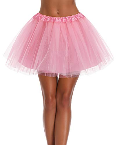 Women s, Teen, Adult Classic Elastic 3, 4, 5 Layered Tulle Tutu Skirt (One Size, 4Layer-LightPink)