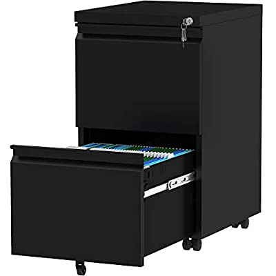 YITAHOME 2-Drawer Filing Cabinet Office Drawers with Lock, Portable Metal File Cabinet, Pre-Built Office Storage Cabinet for A4/Letter/Legal