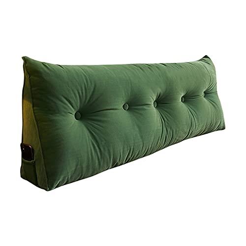 NLCYYQ Cojín de noche con funda de terciopelo para respaldo, cojín de cuña, ancho y triangular, respaldo largo, cojín de lectura, cojín lumbar (verde, 120 cm (4 botones)