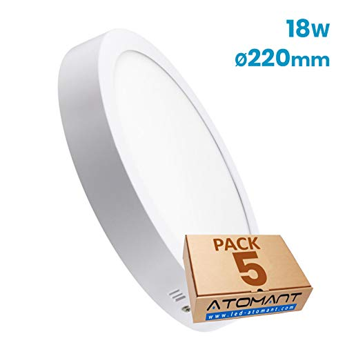 Led Atomant 5x Plafon Panel Downlight Led Redondo 18 W Superficie, Blanco Neutro 4500K, 1600 lumenes reales, 225 mm