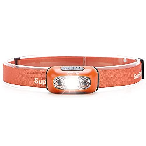 SuperFire HL05 Headlamp Headlight Rechargeable LED Head Flashlight with Motion Sensor Control Lightweight Head Lamp for Running Night Jogging Hiking Reading (Orange)