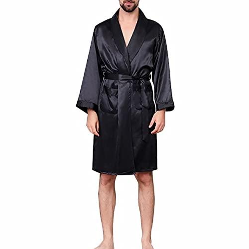 IAMZHL Albornoz de Lujo de Verano para Hombre, Pijama de satén de Seda de Talla Grande sólida, camisón de Verano para Hombre, Bata de Seda-a18-L