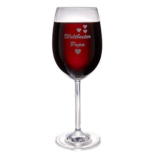 van Hoogen Leonardo Weinglas Weltbester Papa | mit Gravur | Geschenk für Vater | Zum Vatertag | 365ml Premiumglas Rotwein Weißwein | Bester Papa