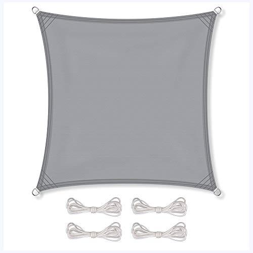 CelinaSun Sonnensegel inkl Befestigungsseile PES Polyester wasserabweisend imprägniert Quadrat 4 x 4 m hell grau