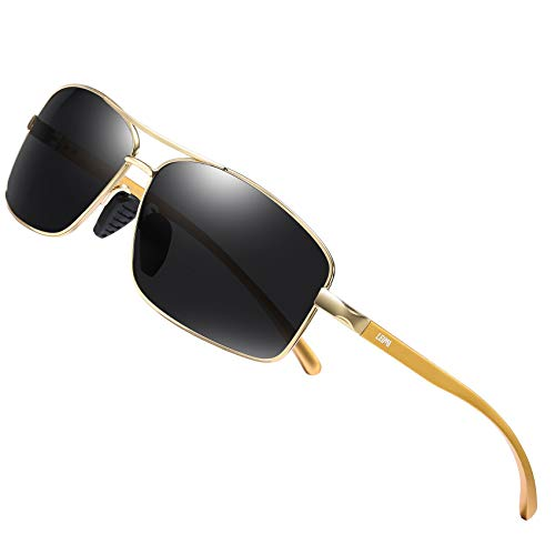 LEIMI Gafas de sol polarizadas, hombre, estilo vintage, rectangular, para conducción, pesca, protección UV 2458 (Negro dorado, 65)
