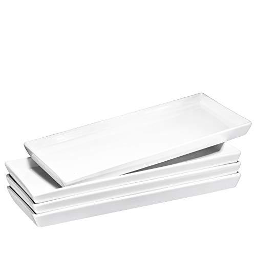 """Bruntmor Ceramic Platter Trays – High-Grade Porcelain, Safe for Dishwasher, Microwave, and Freezer, 14"""" X 6"""" Serving Dish Plate Tray Set of 4"""
