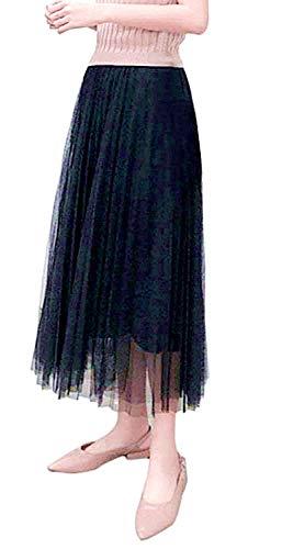 [TradeWind] ロングスカート ダンス 社交ダンススカート チュールレース ダンススカート ダンス衣装 レディース ウェア コーラス ジャズダンス衣装(黒 90cm)