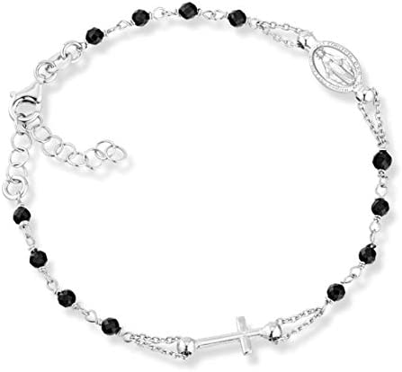 MiaBella 925 Sterling Silver Italian Natural Black Spinel Rosary Cross Charm Bead Bracelet for product image