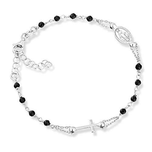 MiaBella 925 Sterling Silver Italian Natural Black Spinel Rosary Cross Charm Bead Bracelet for Women Teen Girls, Adjustable Link Chain 6 to 8 Inch Handmade in Italy (6
