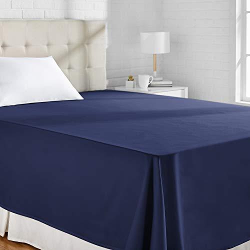 Amazon Basics - Sábana encimera (algodón satén 400 hilos, antiarrugas), 230 x 260 + 10 cm - Azul marino