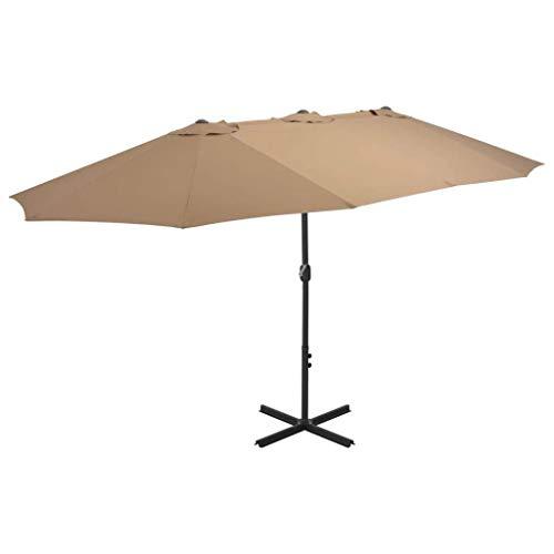 CHHD Garden Parasols Outdoor Parasol with Aluminium Pole 460x270 cm Taupe Home Garden Lawn Garden Outdoor Living Outdoor Parapluies Parasols