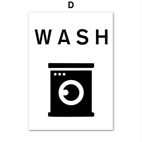 SDFSD Waschen Sie trocken Falten Eisen Wäsche lustiges Zeichen Zitat Wandkunst Leinwand Malerei nordische Poster und Drucke Wandbilder für Badezimmer Dekor D 40 * 50cm