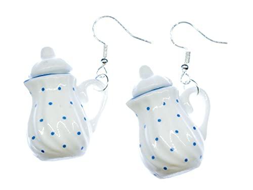 pot Miniblings de los pendientes tetera de té de porcelana puntos azules - joyería de plata hecha a mano de la manera plateó los pendientes del I