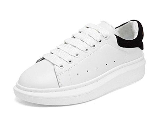 Minetom Damen Plateau Sneakers Sportschuhe Lace-up Laufschuhe Frühling und Sommer Schülerfreizeitschuhe (Schwarz EU 37)