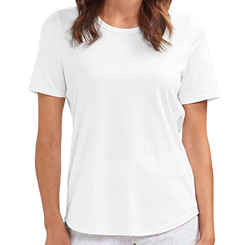 Rösch - Damen Schlafanzug Shirt - Kurzarm (42 Weiß)