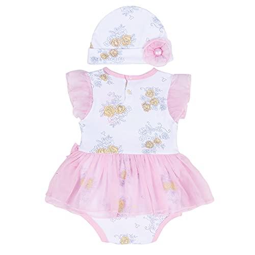 Ueohitsct Conjunto de ropa de 2 piezas para recién nacidos y niñas, vestido de princesa+sombrero