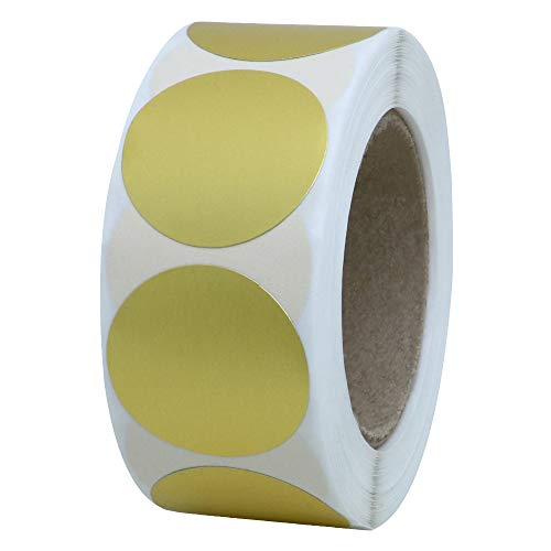 Hybsk Color Coding Dot Labels 1 inch Round Stickers 500 Per Roll (Gold Foil)