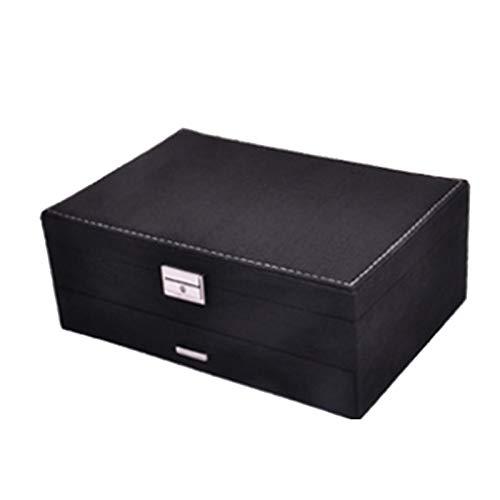 ACAMPTAR Caja de Joyería de Terciopelo de Moda Caja de Almacenamiento de Pendientes de Múltiples Capas Caja de Almacenamiento de Joyería de 2 Capas Maleta de Gama Alta Negro