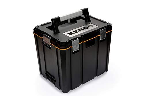 KENDO Systemkoffer – Größe L – Volumen: 65 Liter – Größe: L46 x B36 x H39 cm – Aus extrem stabilem ABS-Kunststoff – Max. Belastbarkeit 30 kg – Für Kleinteile und Werkzeug