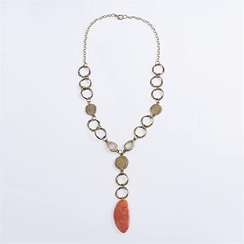 Collar Maxi Geométrico Collar Colorido Boho Seashell Conch Pearl Vintage Cadena étnica para Las Mujeres Joyería de la Boda (Metal Color : 10)