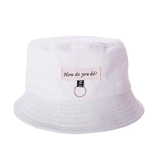 Bucket Hat Chapeau Mode Femmes Mignon Été Soleil Chapeau Cercle Seau Casquette Décontracté Anneau Décor Hip Hop Fille Garçon Étudiant Parasol Pêche Casquette Blanc
