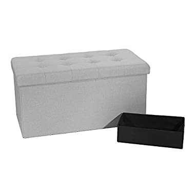 Seville Classics Foldable Tufted Storage Bench Ottoman, Alpine Gray