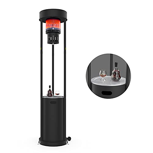 55,000 BTUs Outdoor Heaters for Patio Propane, Terra Hiker Outdoor Patio Heaters with Wheels, Stainless Steel Propane Space Heaters, Garden Gas Heaters with Safety Ignition System, 15-Minute Assembly