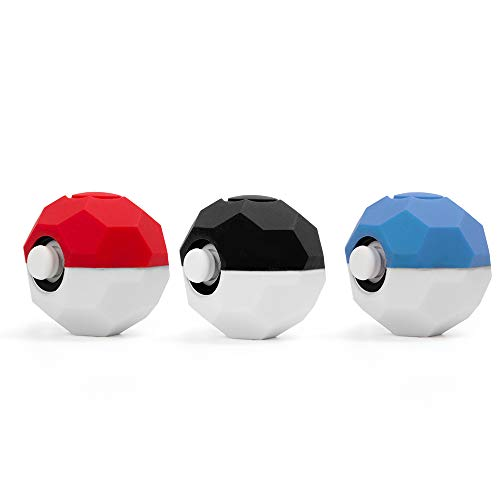 Cybcamo Silicone Grip for Poké Ball Plus Controller, Anti-Slip Protective Case Cover with Thumbsticks for Pokémon Let's Go Pikachu/Eevee Game for Nintendo Switch 3 Pack (Football)