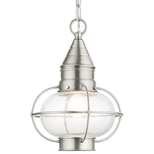 LIVEX LIGHTING 26910-91 Newburyport 1 Lt Brushed Nickel Outdoor Pendant Lantern
