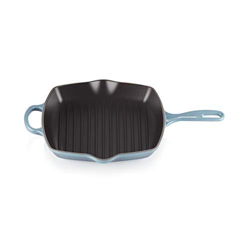 Le Creuset Emaillierte Gusseisen-Grillpfanne mit Hilfsgriff und 2 Ausgießnasen, Für alle Öfen und Herde (inkl. Induktion), 26 cm, Marineblau