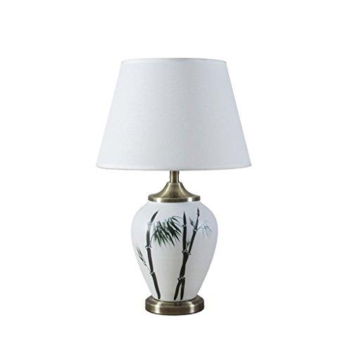 CKH Painted Bamboo Ronde keramische bureaulamp Chinese elegante werkkamer woonkamer bedlampje tafellamp doek lampenkap