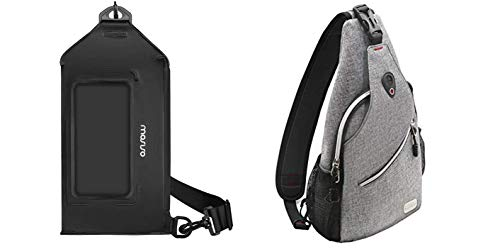 MOSISO Sling Backpack Multipurpose Crossbody Shoulder Bag Travel Hiking Daypack & Waterproof Dry Bag Chest Bag Waist Pack with Transparent Touchscreen Cover fit Most 6.7inch Smart Phone Dry Pouch Bag