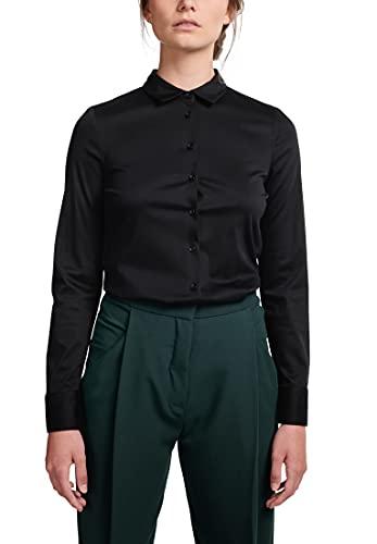 eterna Camisa ajustada de manga larga con cuello de camisa de viscosa, color negro, Negro , 38
