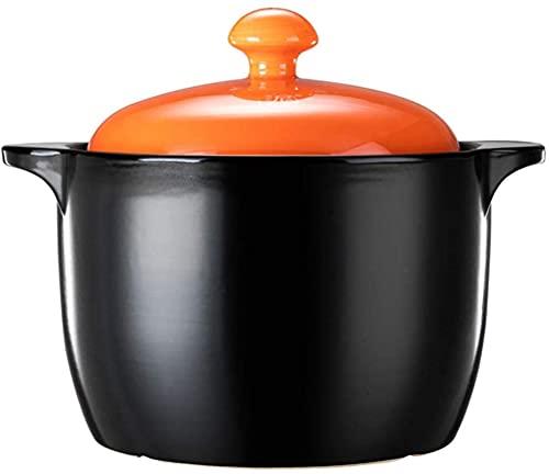HYYDP Cacerolas Cerámica de ollas de cerámica de ollas de cerámica para cocinar la Olla de Arcilla de cocción, con la Resistencia a la Temperatura de la Cubierta, 6000 ml en Capacidad