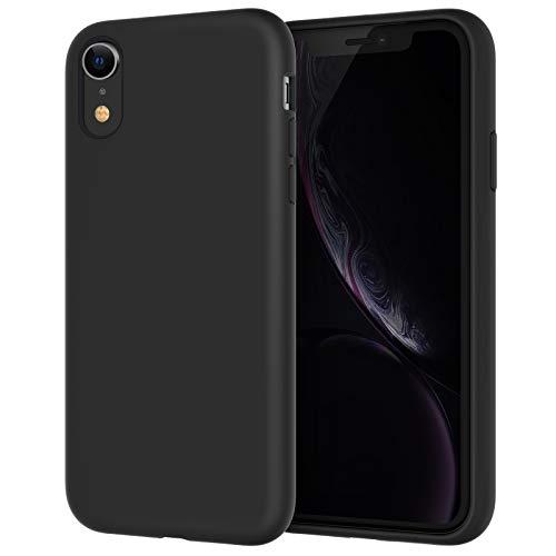 JETech Silicone Hülle für iPhone XR, 6,1-Zoll, seidigem Ganzkörper-Schutzhülle, mit weichem Mikrofaser-Innenfutter stoßfestes Abdeckung, Schwarz
